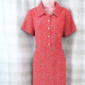 Red Collared Short Sleeve Pencil Dress By Orvis